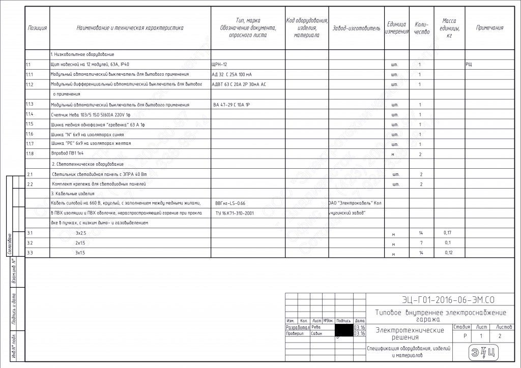 Спецификация эл. оборудования и материалов для гаража
